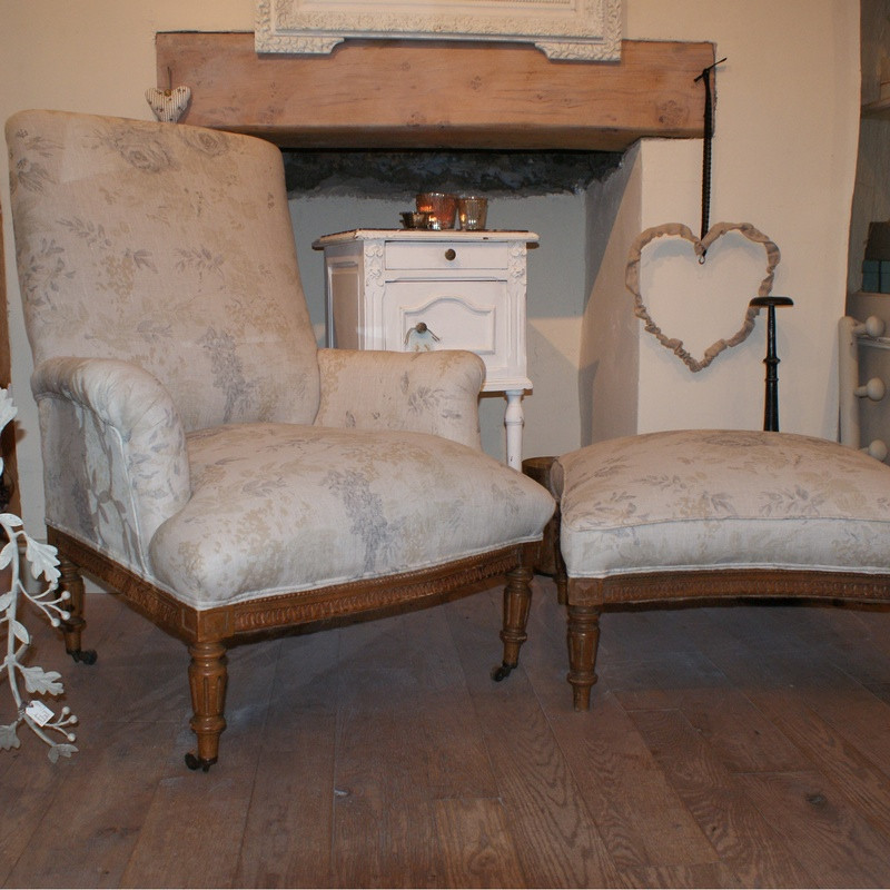 Antique French Armchair & Pouffe