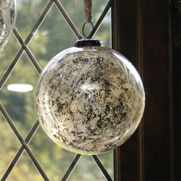 8 inch antiqued aged silver glass bauble