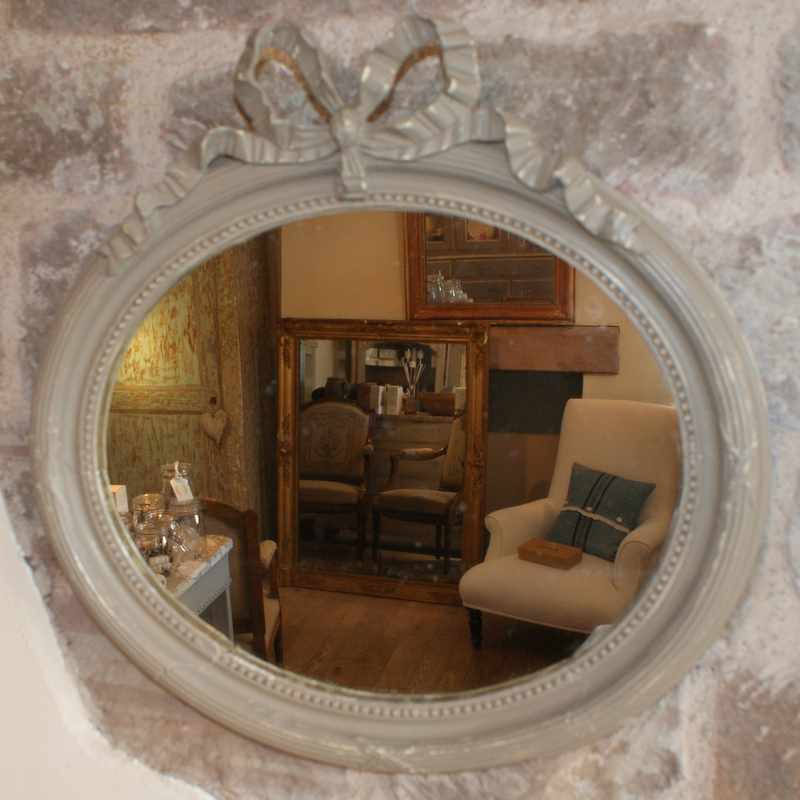 Antique French Mirror with Decorative Bow