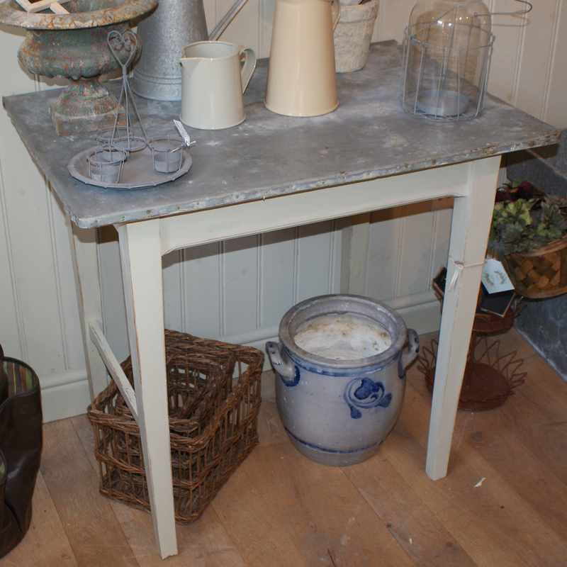 Antique Zinc Top Table