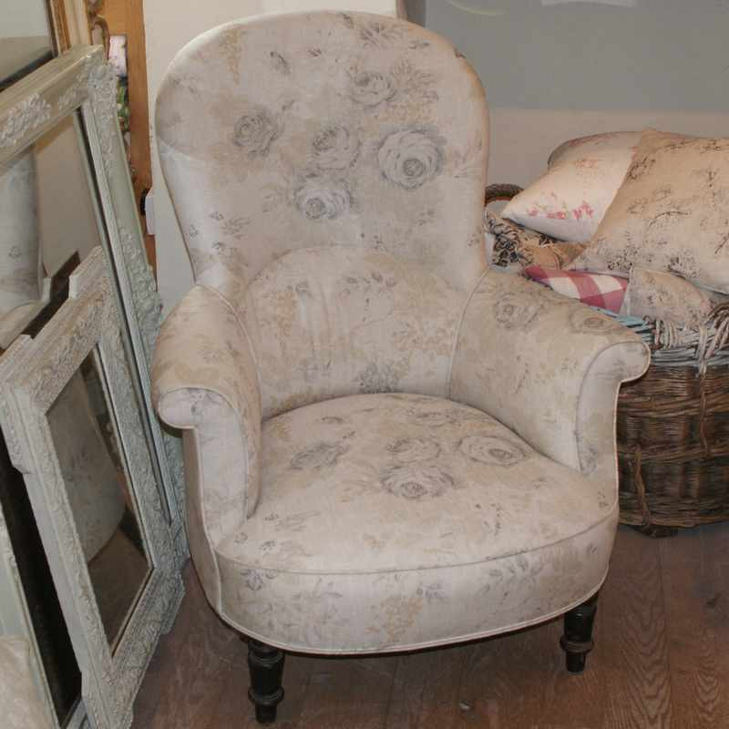 Antique French High Back 'Crapaud' Armchair