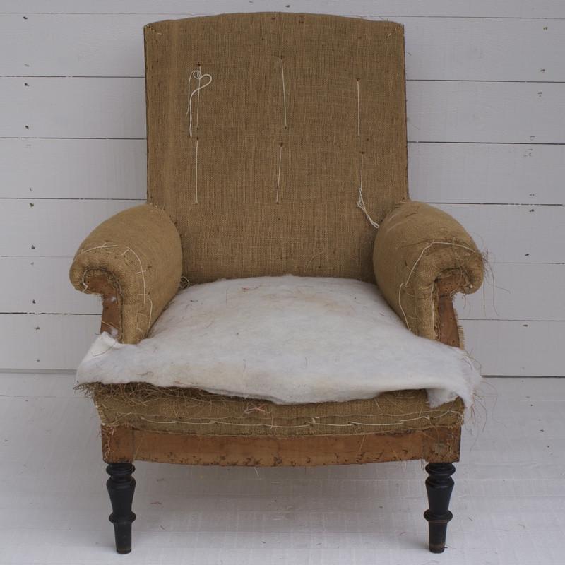 Antique French Armchair for Re-upholstery