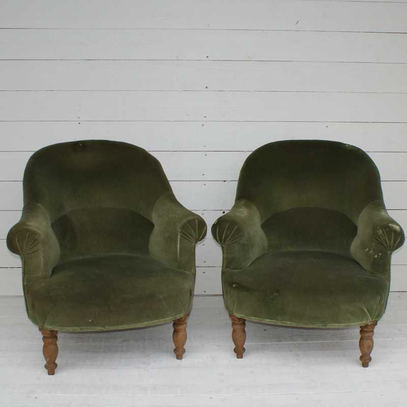 Pair of Antique French 'Crapaud' for Re-upholstery