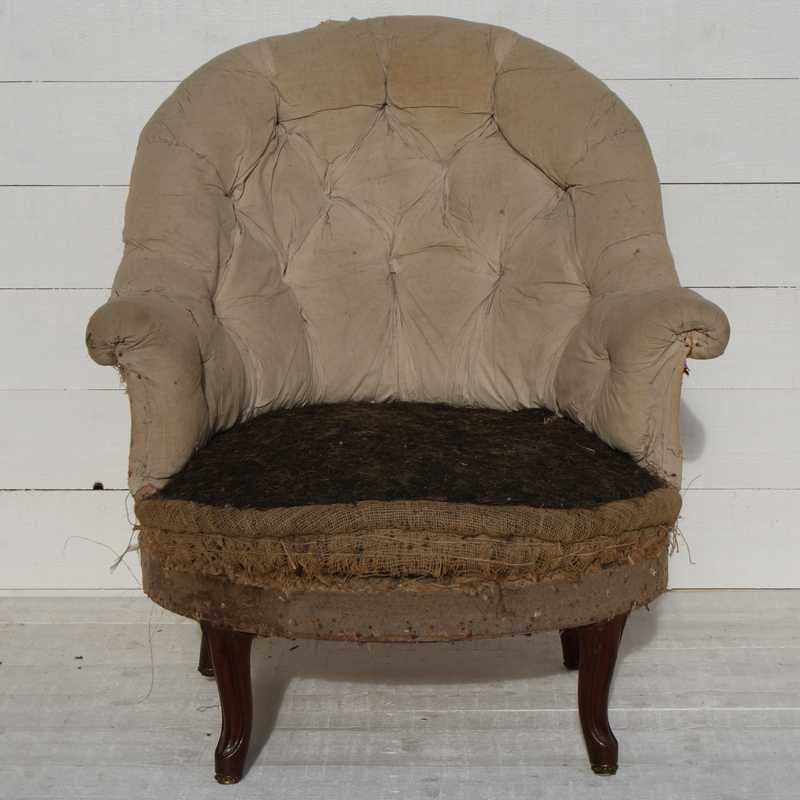 Antique French 'Crapaud' Armchair - Upholstery Inclusive
