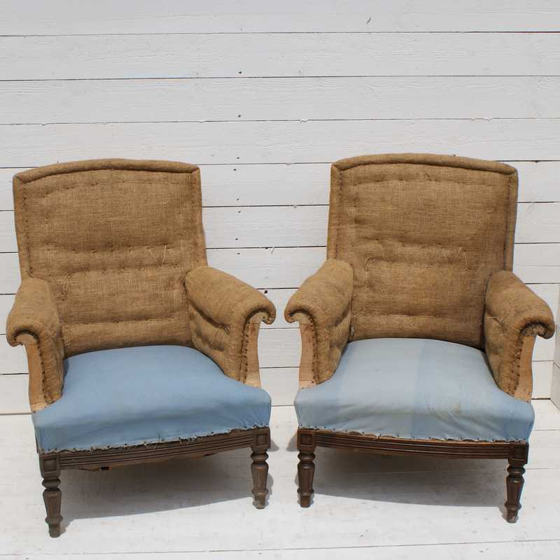 Pair Of Antique French Armchairs - Upholstery Inclusive