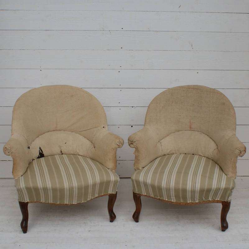 Pair of Antique French 'Crapaud' Armchairs - Upholstery Inclusive