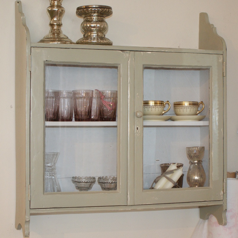 Vintage French Glazed Wall Cabinet
