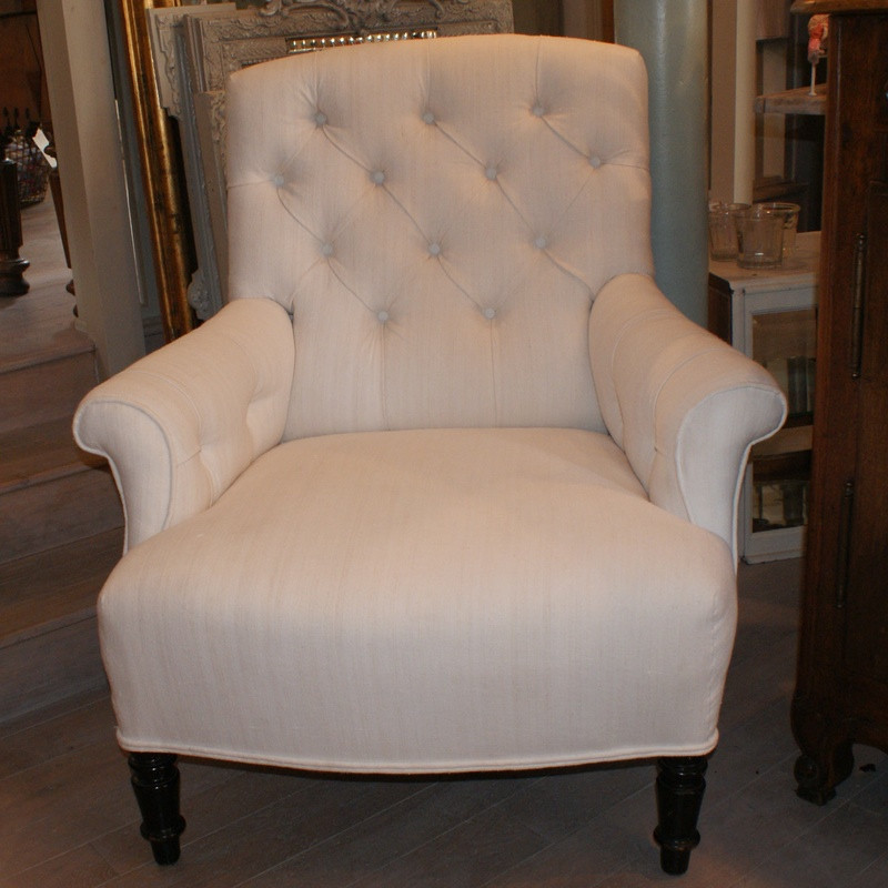 Antique French Linen Armchair