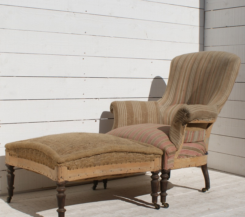 Antique French Armchair/Footstool - Upholstery Inc