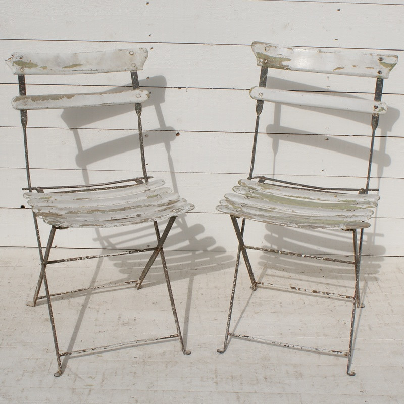 Pair of Antique French Bistro Chairs