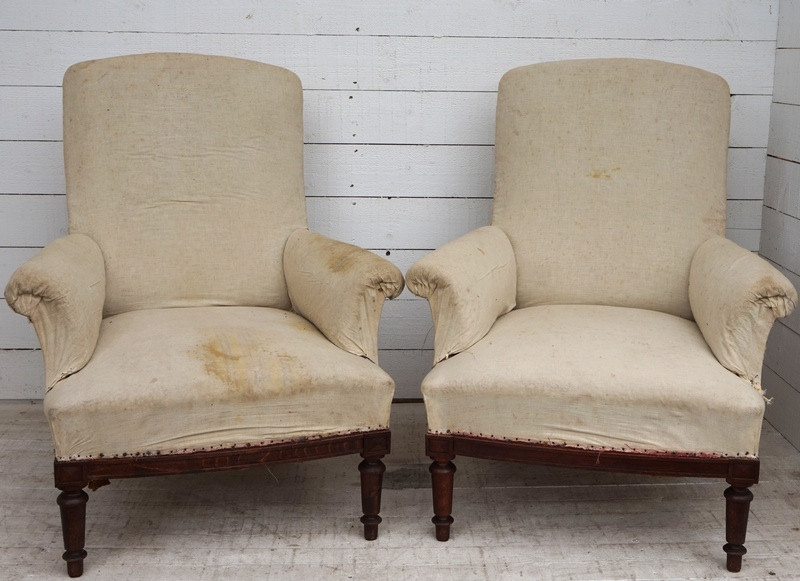 Pair of Antique French Armchairs - Upholstery Included