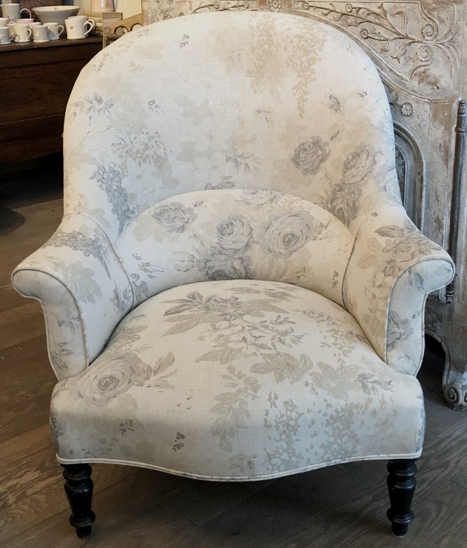 Antique French Armchair in Cabbages & Roses