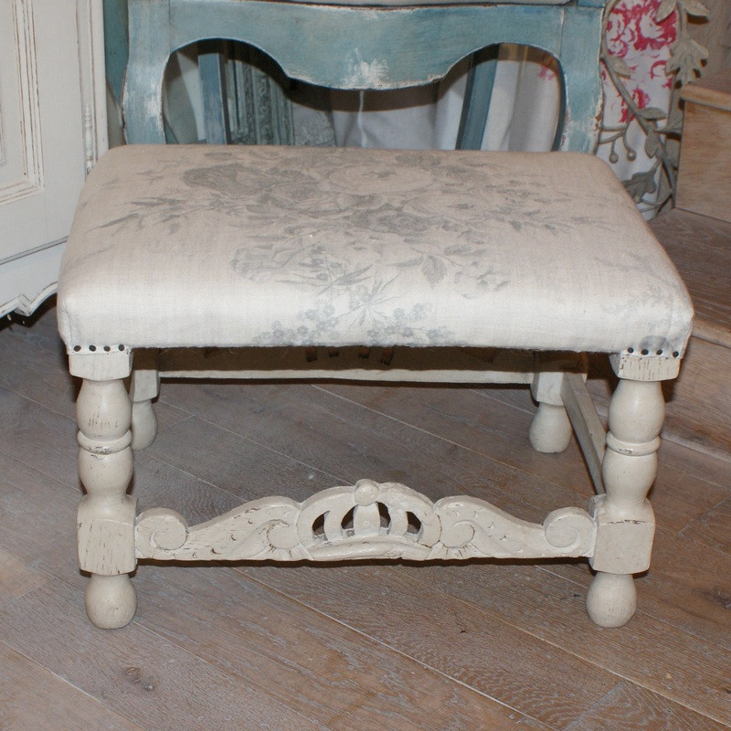 Antique French Upholstered Footstool