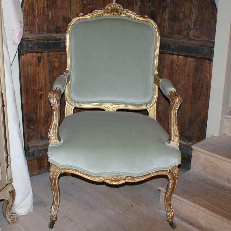 Pair Of Antique French Cabriolet Armchairs