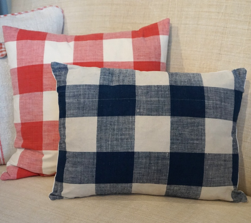 Antique French Vichy Check Cushions