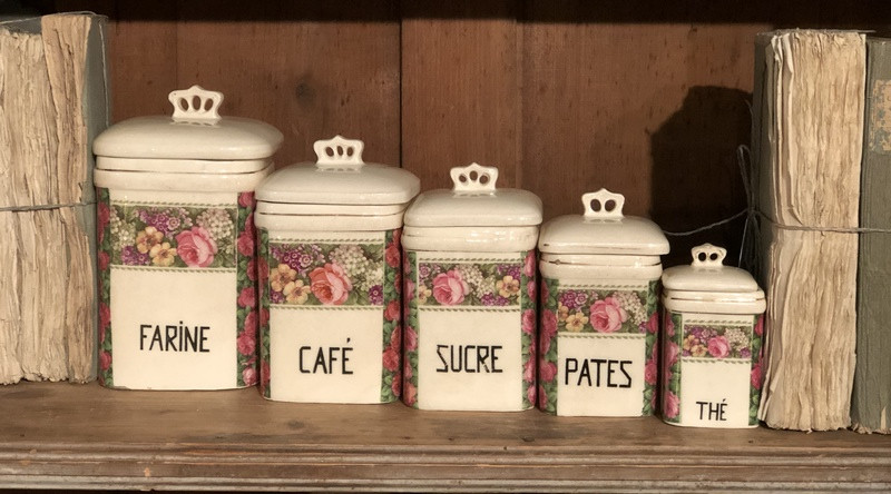 Set of 5 French Canisters