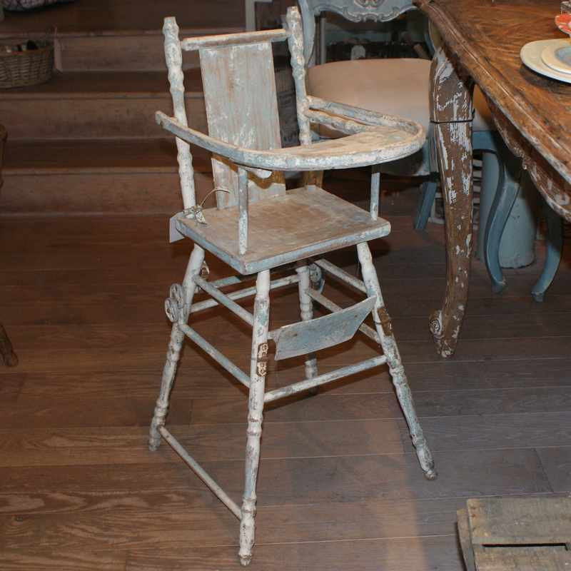 Antique French Painted Highchair