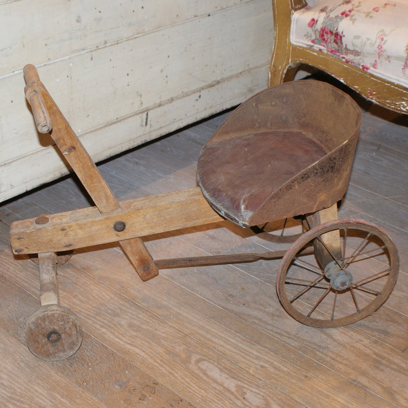 Antique French wooden toddlers bicycle cart