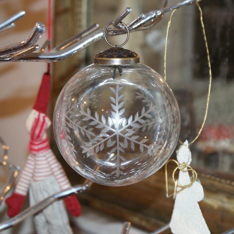 """4"""" Etched Glass Snowflake Bauble"""
