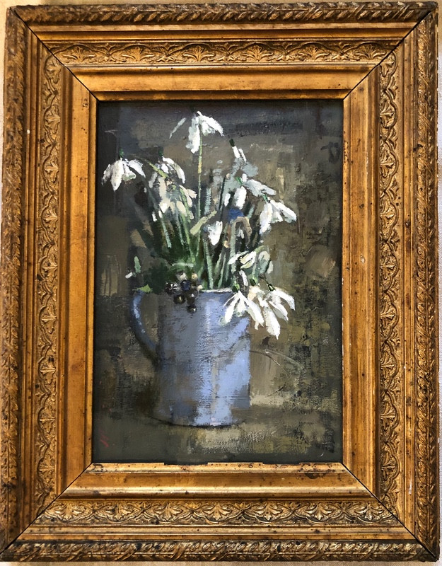 'Snowdrops in a Tiny Davenport Jug ' by Andrew Douglas-Forbes