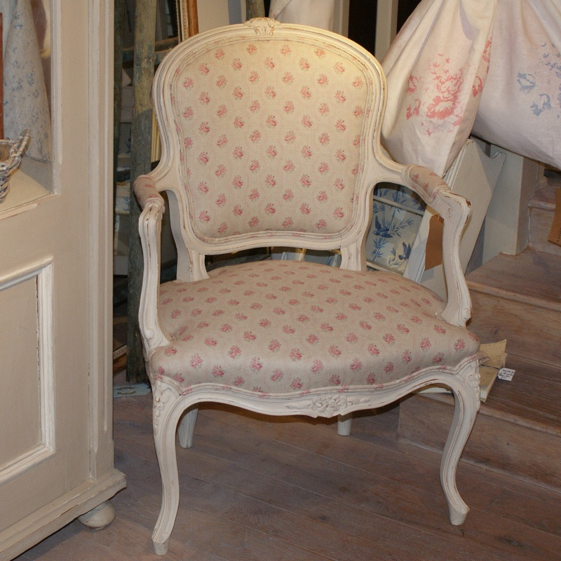 Antique French Bedroom Chair with Arms