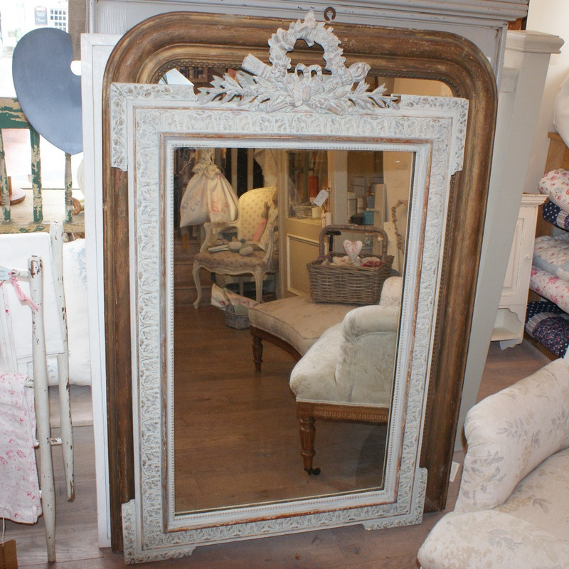 Antique French Torch and Quiver Crested Mirror