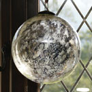 10 inch antiqued aged silver glass bauble