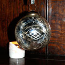 4 inch antiqued aged silver glass bauble