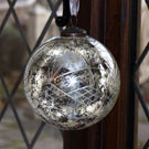 6 inch antiqued aged silver glass bauble