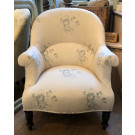 Antique French Crapaud Upholstered in Cabbages & Roses