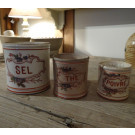 Set of 3 Antique Ceramic Canisters