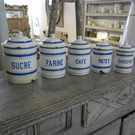 Set of 5 Vintage Enamel Cannisters