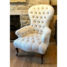 Antique French Buttoned Armchair