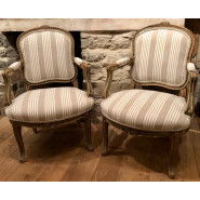 Pair of Antique French Fauteuil armchairs