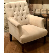 Antique French Armchair in Antique French Linen