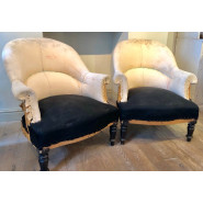 Pair of Antique French 'Crapaud' Armchair