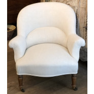 Antique French Armchair in Antique Linen